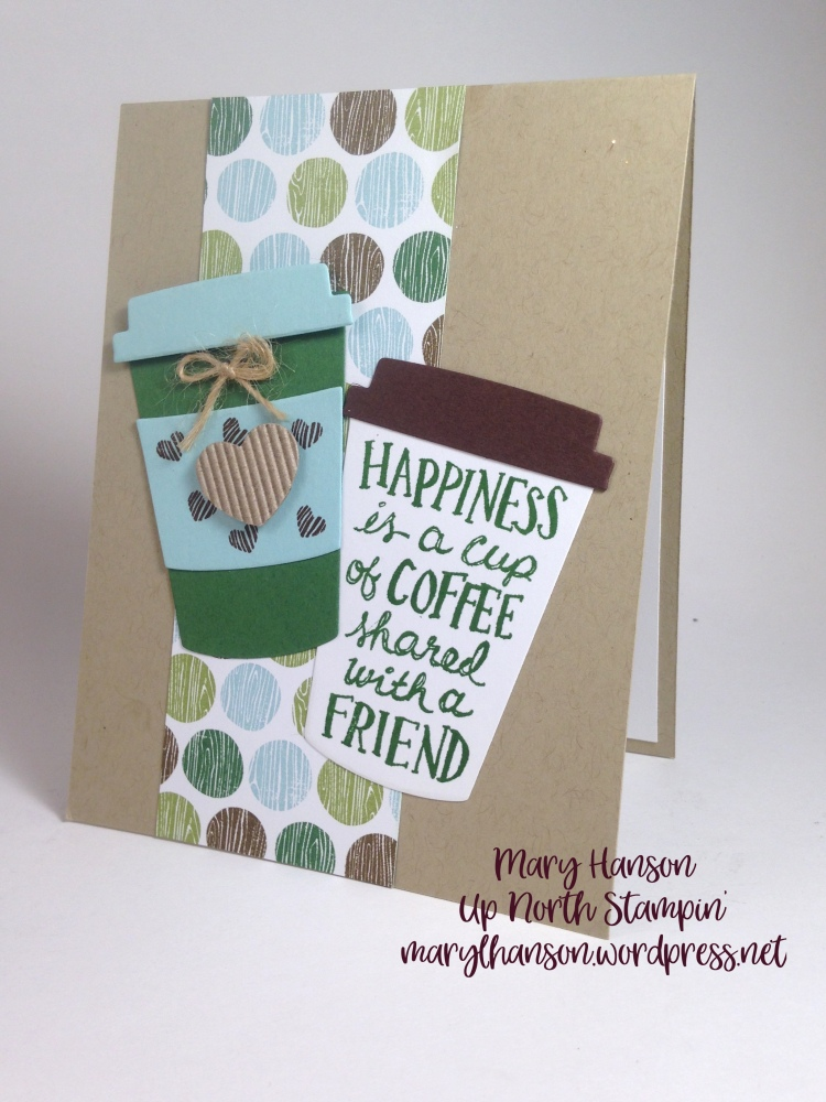 Coffee green blue Mary Hanson Up North Stampin'