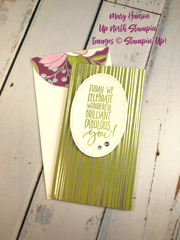 Sweet Soiree DSP 3 - Whisper White Narrow Notecards - Up North Stampin' - Mary Hanson