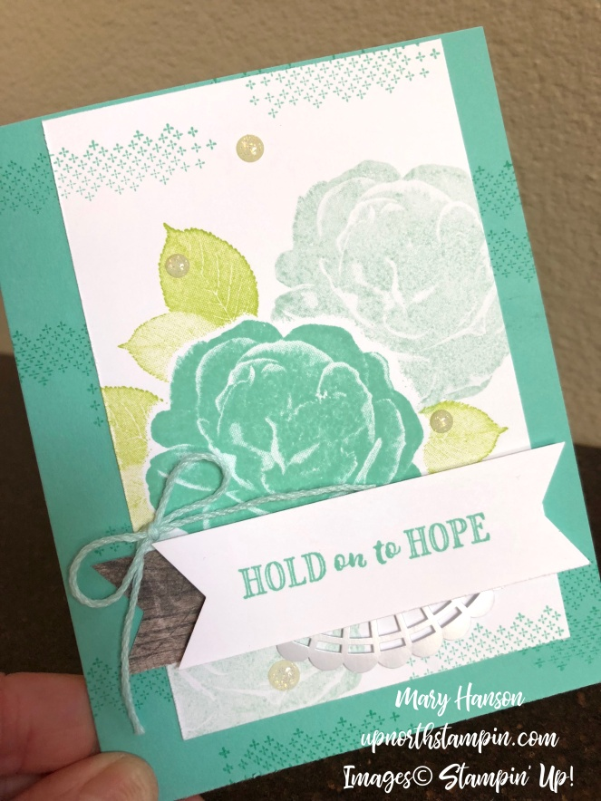 Healing Hugs 3 - Cross of Hope - Pearlized Doilies - Mary Hanson - Up North Stampin'