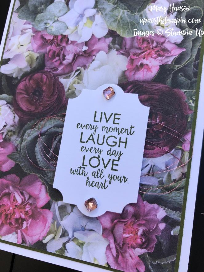 Petal Promenade DSP Close - Courage - Rose Metallic Thread - Petal Pink Rhinestone Gems - Mary Hanson - Up North Stampin'