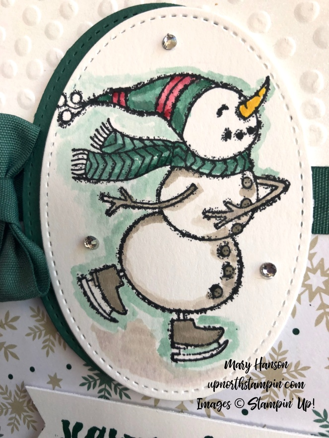 Spirited Snowmen Close Up Tranquil - Joyous Noel Designer Series Paper - Mary Hanson - Up North Stampin'