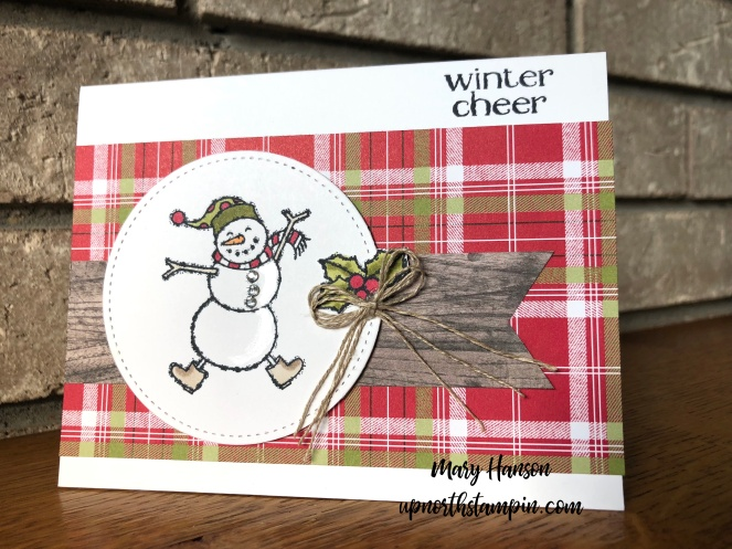 Spirited Snowmen - Wood Textures Designer Series Paper - Under the Mistletoe - Linen Thread - Mary Hanson - Up North Stampin'