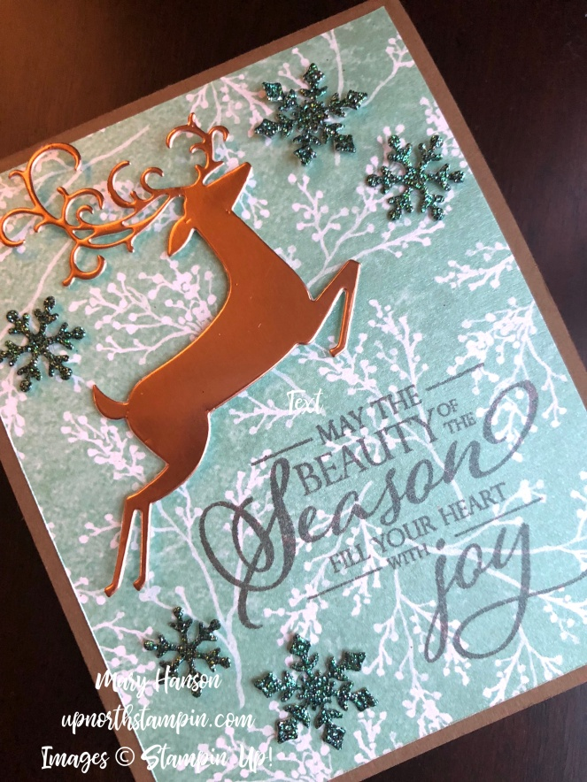 Dashing Deer - Closer - Frosted Floral Designer Series Paper - Joyous Noel Glimmer Paper - Mary Hanson - Up North Stampin'