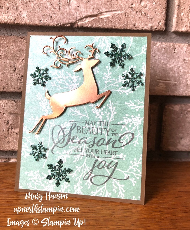 Dashing Deer - Snowfall Thinlits - Frosted Floral Thinlits - Mary Hanson - Up North Stampin' - Stampin' Up!