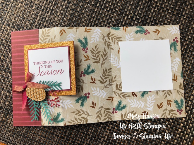 Joyous Noel Designer Series Paper - Pretty Pines bundle - Peaceful Noel Bundle Laid Out - Mary Hanson - Up North Stampin'