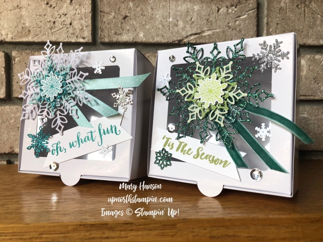 Snowflake Showcase bundle - Baker's Boxes - Joyous Noel Glimmer Paper - Mary Hanson - Up North Stampin'