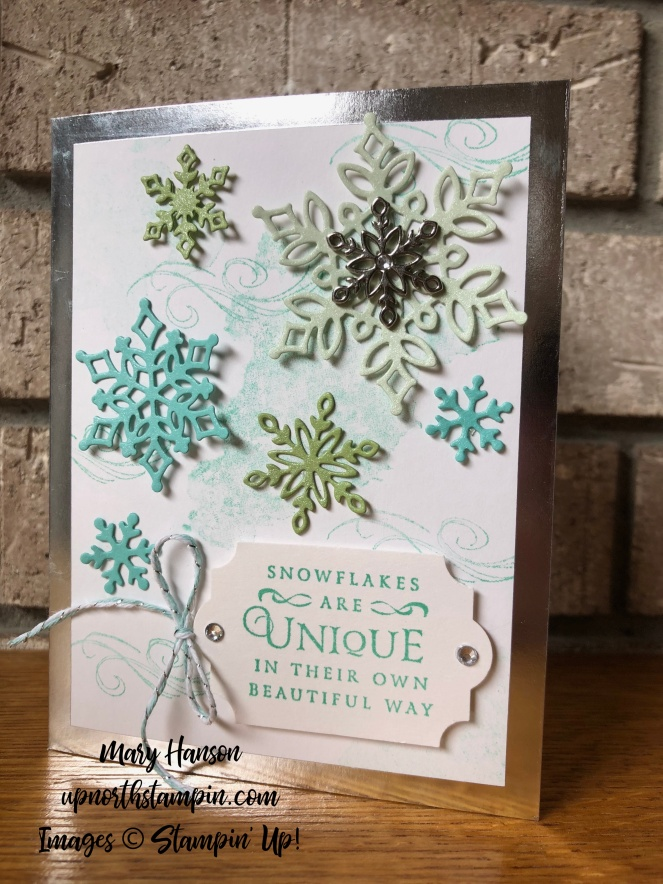 Beautiful Blizzard - Snowflake Showcase - Silver Foil-Edged Cards and Envelopes - Mary Hanson - Up North Stampin'