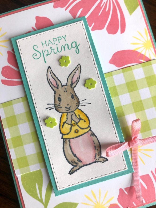 Fable Friends - Rabbit Close Up - Gingham Gala Designer Series Papers - Bloom by Bloom - Mary Hanson - Up North Stampin'