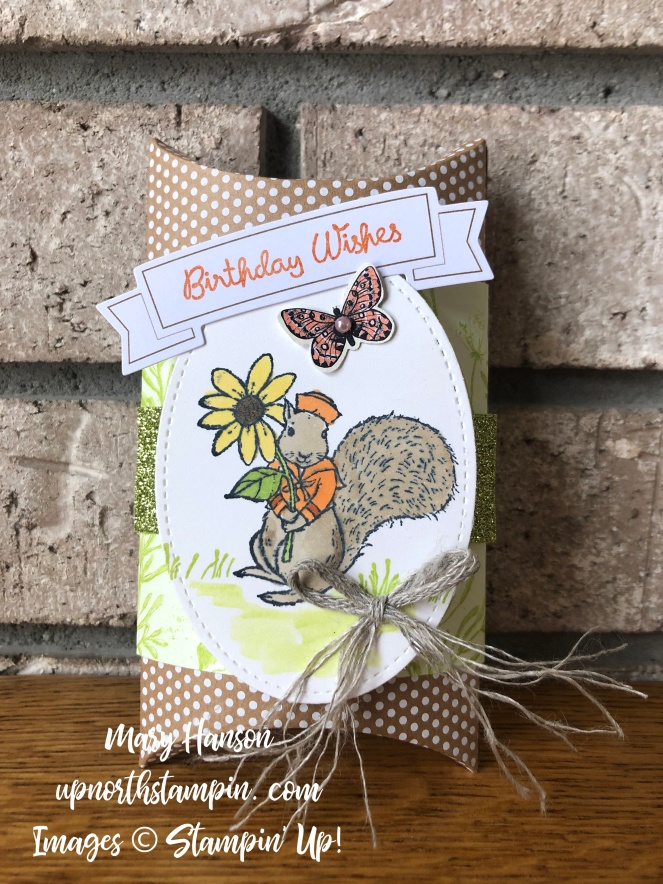 Fable Friends - Squirrel 2 - Kraft Pillow Box - Mary Hanson - Up North Stampin' - Botanical Butterfly Designer Series Paper