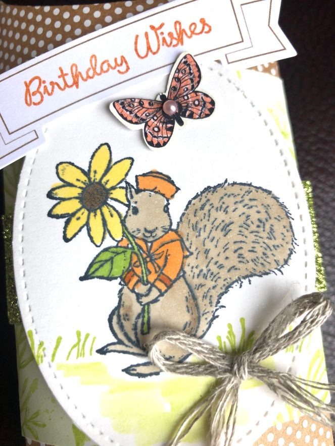 Fable Friends - Squirrel - Close Up - Mary Hanson - Up North Stampin' - Kraft Pillow Boxes
