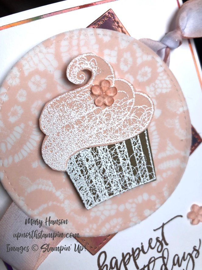 Hello Cupcake - Close - Picture Perfect Birthday - Floral Romance Designer Series Paper - Stampin' Up! - Mary Hanson - Up North Stampin'