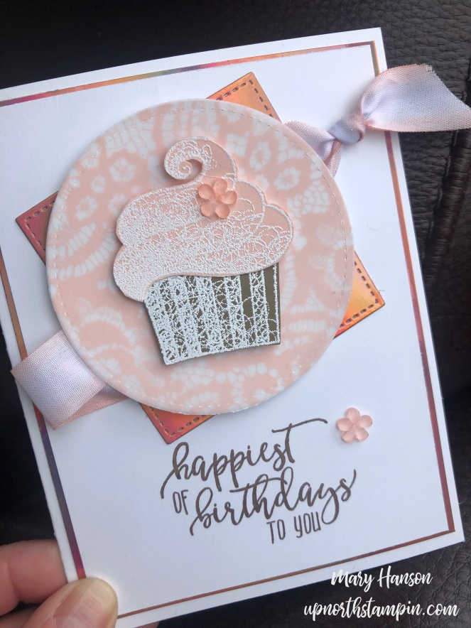 Hello Cupcake - handheld - Picture Perfect Birthday - Floral Romance Designer Series Paper - Stampin' Up! - Mary Hanson - Up North Stampin'