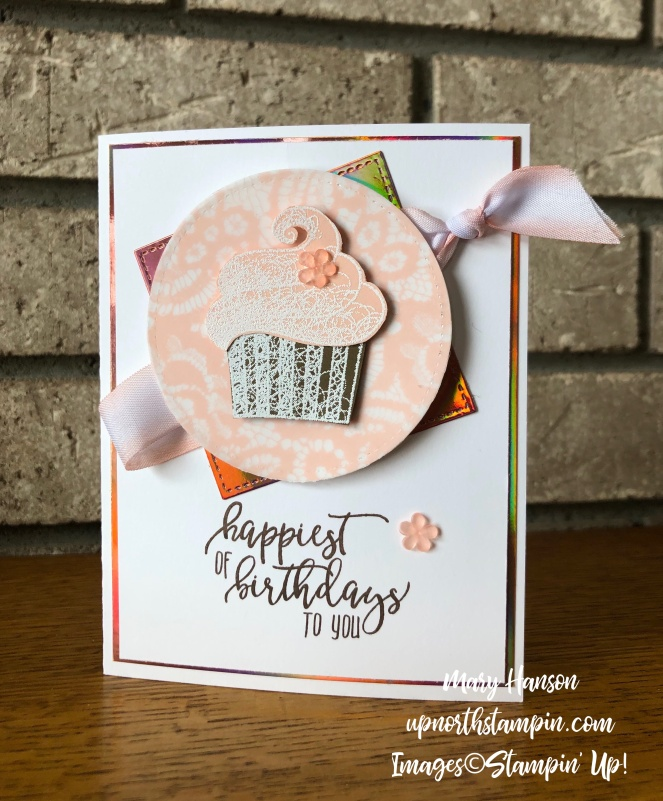 Hello Cupcake - Mantel - Picture Perfect Birthday - Floral Romance Designer Series Paper - Stampin' Up! - Mary Hanson - Up North Stampin'
