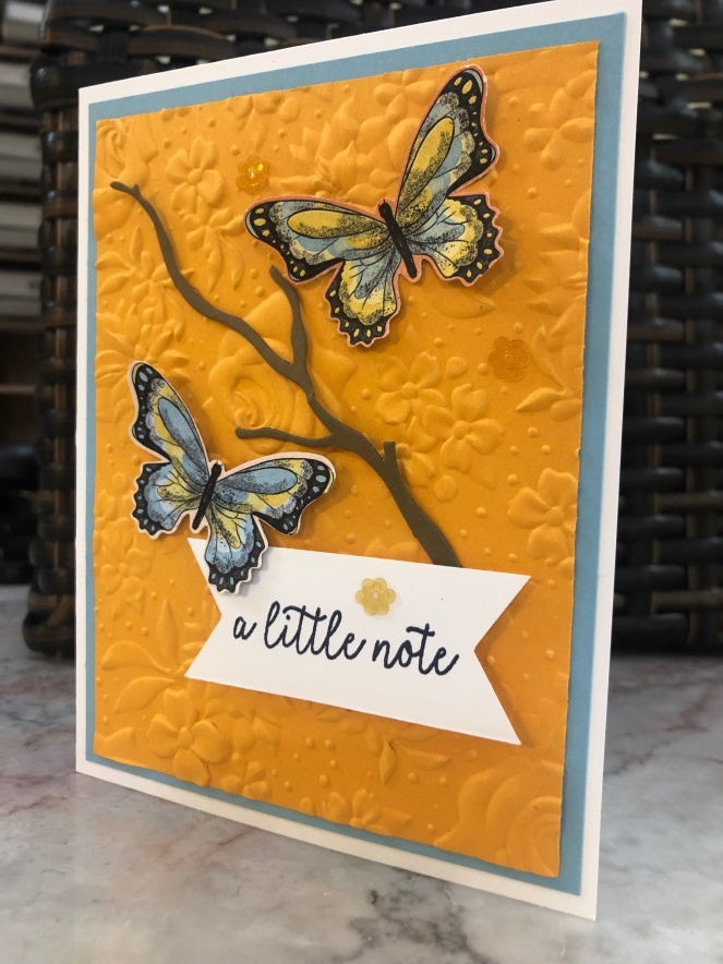 Botanical Butterfly - Colorful Seasons - Butterfly Gala - Country Floral Textured Impressions Embossing Folder - Mary Hanson - Up North Stampin'