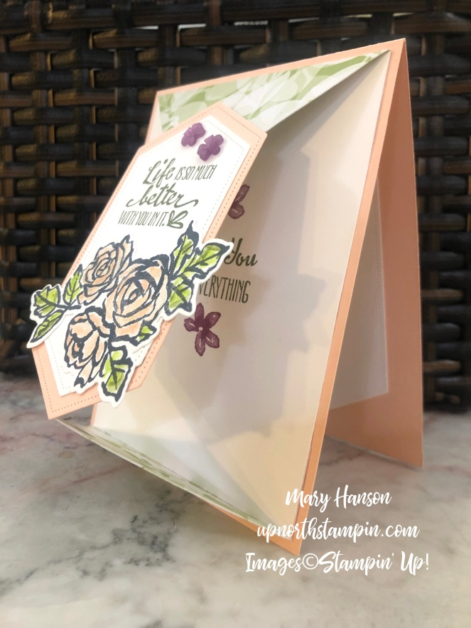 Petal Palette Bundle - Fancy Fold - Stitched Nested Labels Dies - Side View - Frosted Flower Embellishments - Mary Hanson - Up North Stampin'