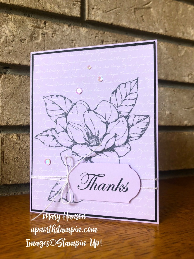 Magnolia - Daisy Lane - 2019-21 In Colors Designer Series Paper - Purple Posy - Timeless Label Punch - Mary Hanson - Up North Stampin'