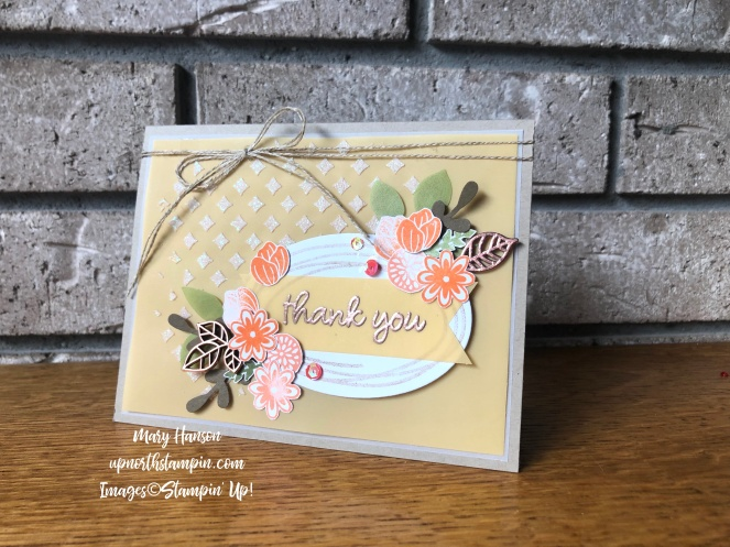 Sweetly Swirled 3 - Leaf Trinkets - Embossing Paste - Grapefruit Grove - Perennial Essence Vellum Cardstock - Mary Hanson - Up North Stampin' - Stampin' Up!