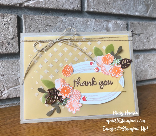 Sweetly Swirled 4 - Leaf Trinkets - Embossing Paste - Grapefruit Grove - Perennial Essence Vellum Cardstock - Mary Hanson - Up North Stampin' - Stampin' Up!