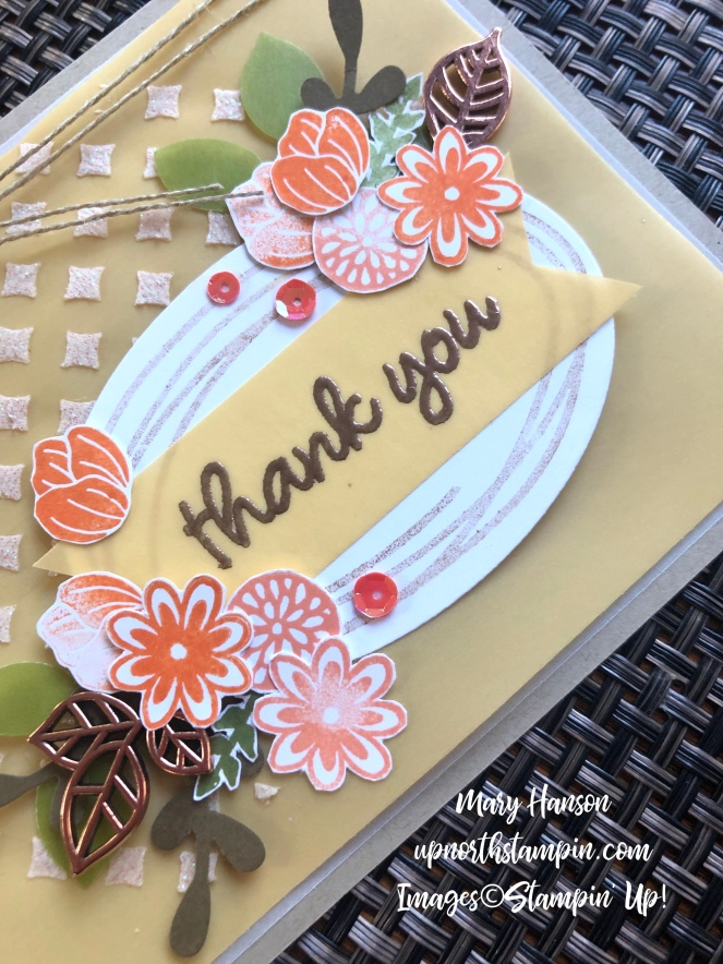 Sweetly Swirled Close Up - Leaf Trinkets - Embossing Paste - Grapefruit Grove - Perennial Essence Vellum Cardstock - Mary Hanson - Up North Stampin' - Stampin' Up!