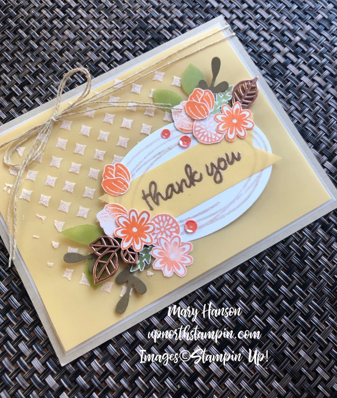 Sweetly Swirled Woven Background - Leaf Trinkets - Embossing Paste - Grapefruit Grove - Perennial Essence Vellum Cardstock - Mary Hanson - Up North Stampin' - Stampin' Up!