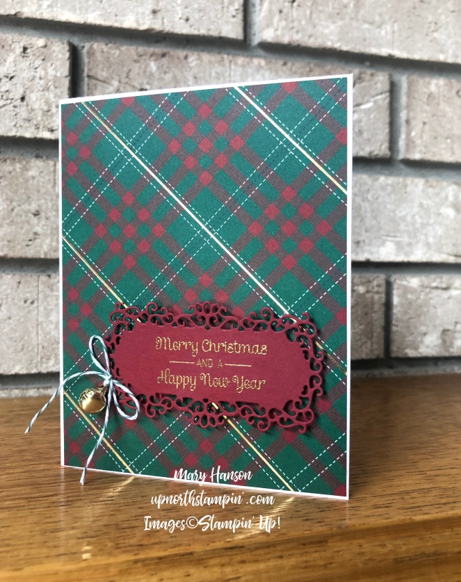 Perfectly Plaid Specialty Designer Paper - Ornate Frames Dies - Itty Bitty Christmas - Gold Embossing Powder - Mary Hanson - Up North Stampin'