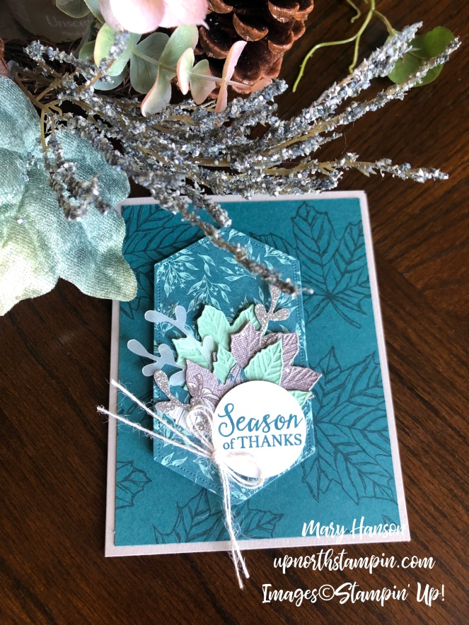Come to Gather - Table - Pretty Peacock - Stitched Nested Label Dies - Mary Hanson - Up North Stampin'
