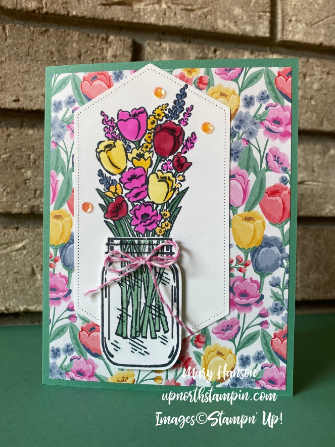 Jar of Flowers - 2 - Flowers for Every Season DSP - Lovely You - Mary Hanson - Up North Stampin'